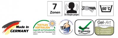 7 Zonen, für Allergiger geeignet, Rundum-Reißverschluss, waschbar 60 Grad, Made in Germany, Textiles Vertrauen, Körperverträglich, geprüfte Ergonomie, Gel-Art Softschaum