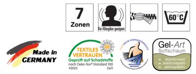 7 Zonen, für Allergiger geeignet, Rundum-Reißverschluss, waschbar 60 Grad, Made in Germany, Textiles Vertrauen, Körperverträglich, Gel-Art Softschaum